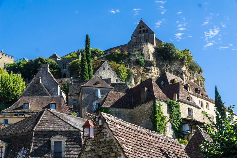 Beynac Castle, France Ancient Civilization Architecture Beynac Castle Beynac-et-Cazenac Blue Building Exterior Built Structure Day History Mountain Mountain Range Nature No People Outdoors Sky Tradition Travel Travel Destinations Tree
