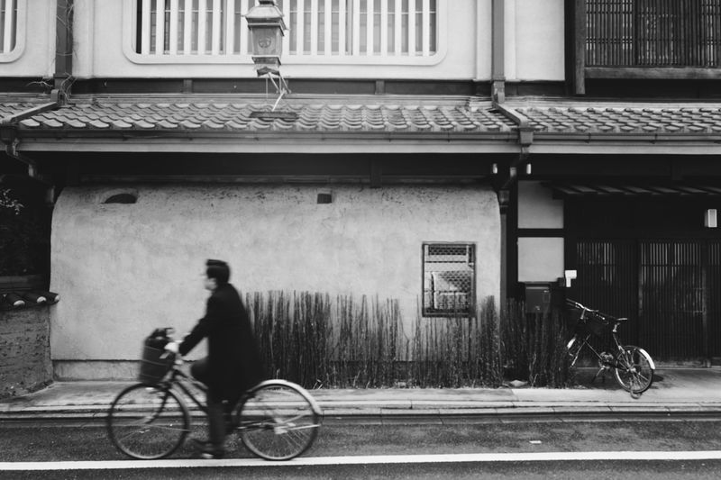 Kyoto Architecture Transportation Built Structure Building Exterior City Mode Of Transportation One Person Bicycle Street