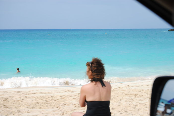 Beautiful sea Activity Beach Beauty In Nature Blue Casual Clothing Horizon Over Water Leisure Activity Lifestyles Nature Rear View Relaxation Scenics Sea Shore Sky Standing Summer Tourism Tourist Tranquil Scene Tranquility Travel Vacations Water Weekend Activities