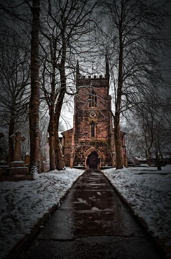 From the cradle to the grave Church Church Tower HDR Hdr_Collection Architecture Bare Tree Branch Building Exterior Built Structure Christ Church Ainsworth Church Architecture Cold Temperature Day Hrd Hrd_collection One Person Outdoors People Sky Snow Tree Winter
