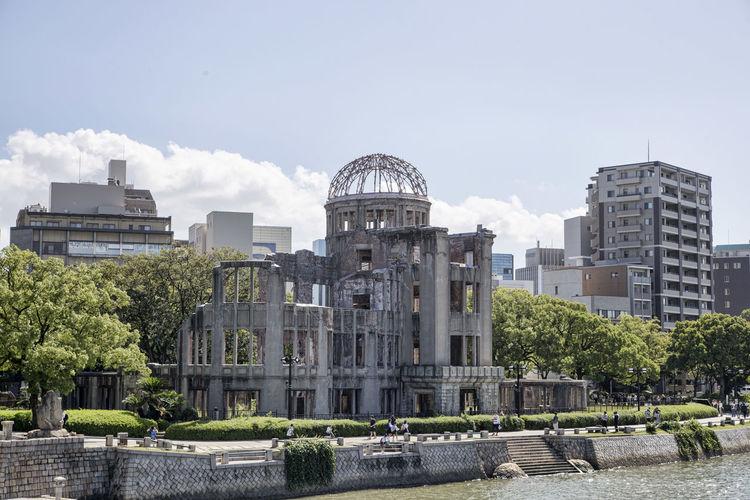 Hiroshima peace memorial park against sky