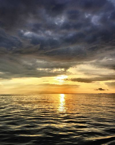 Sky Sunset Sea Beauty In Nature Scenics Tranquility Cloud - Sky Nature Water Dramatic Sky No People Reflection Horizon Over Water Outdoors Silhouette