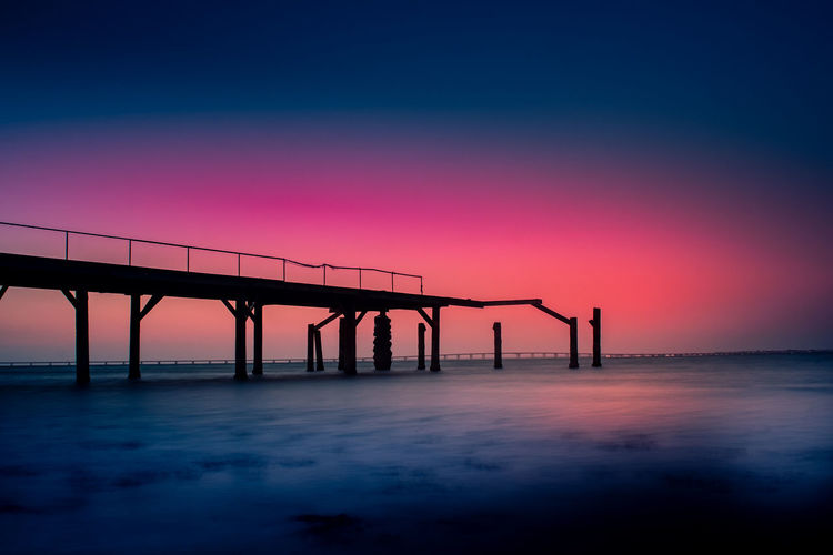 Bridge - Man Made Structure Built Structure Connection Day Industry Nature No People Outdoors Scenics Sea Silhouette Sky Sunset Water