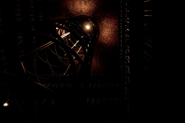 Brown Dark Electric Light Elevator Geometry Night No People Shapes Tower Geometric Shapes