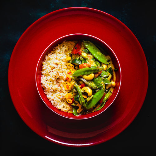 fried rice & creamy coconut curry vegetables Bowl Colorful Cute Food Green Green Color No People Ready To Eat Ready-to-eat Relaxing Rice Served Vegan Vegan Food Vegetables Vegetarian Food Market Reviewers' Top Picks
