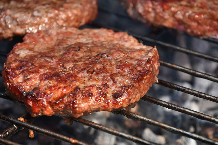 High angle view of beef on barbecue grill