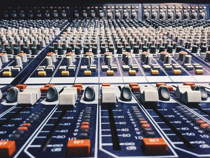 Mixer Board Sound Recording Equipment Recording Studio Control In A Row Close-up Equipment Music Instruments Records Broadcasting Sound Engineer Studio