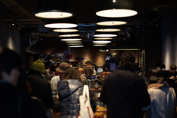 Coffee Coffee Shop Harajuku Cafe Nightclub Illuminated Men Nightlife Sitting Women Happy Hour