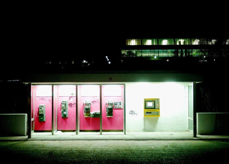 Architecture Built Structure Communication Contrasts Finding New Frontiers Fine Art Gaarden Gas Station Illuminated Kiel Kiel Gaarden Night No People Pink Post Still Life Street Photography Telephone Box