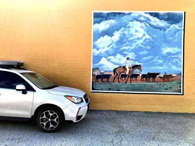 Car Transportation Day No People Outdoors Animal Themes Sky Building Exterior Built Structure Mural Art Western Scene City Life