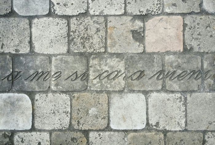 """Treviso Italy Looking Down Pattern Pieces Engraved Stones Mysterious Inscriptions Mobile Photography Art Fineart Mobile Editing """"a me sì cara vieni"""" means """"you are so dear to me"""""""