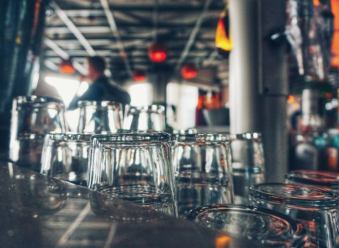 Glass of glasses on table at restaurant