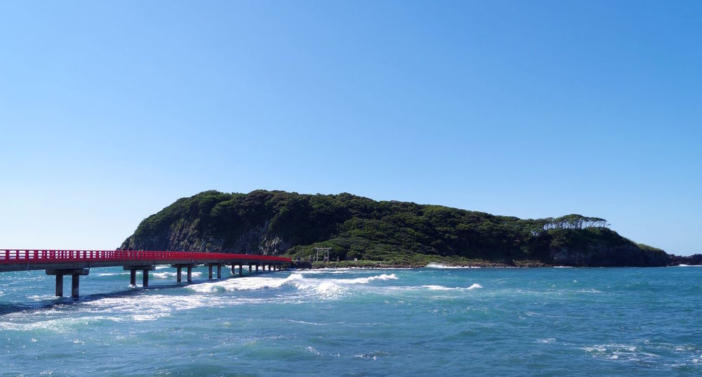 Blue Blue Sky Bridge Fukui Prefecture Island Japan Nature Ocean Sky Sunny Day 三国 島 晴れ 海 空 雄島 青空