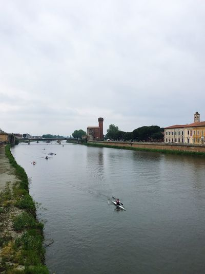 Sull'Arno Water Architecture Built Structure Waterfront Sky Nature Day Outdoors Real People Transportation Nautical Vessel River Building Exterior Cloud - Sky Men Lifestyles One Person Beauty In Nature People
