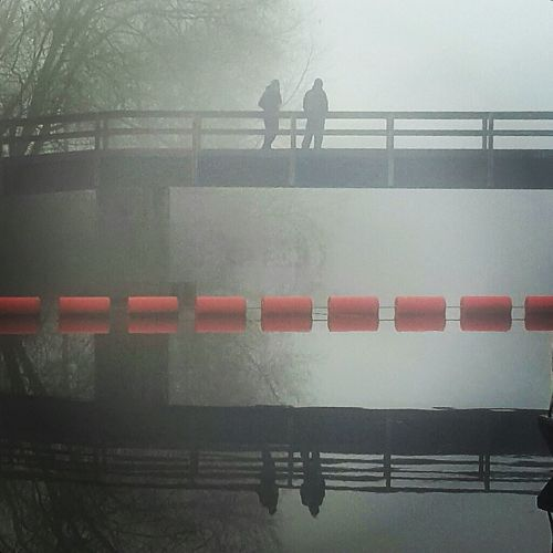Foggy Morning Foggy Bridge Fog Outdoors Bridge Of Water Tranquility Silhouettes Silhouettes On A Bridge