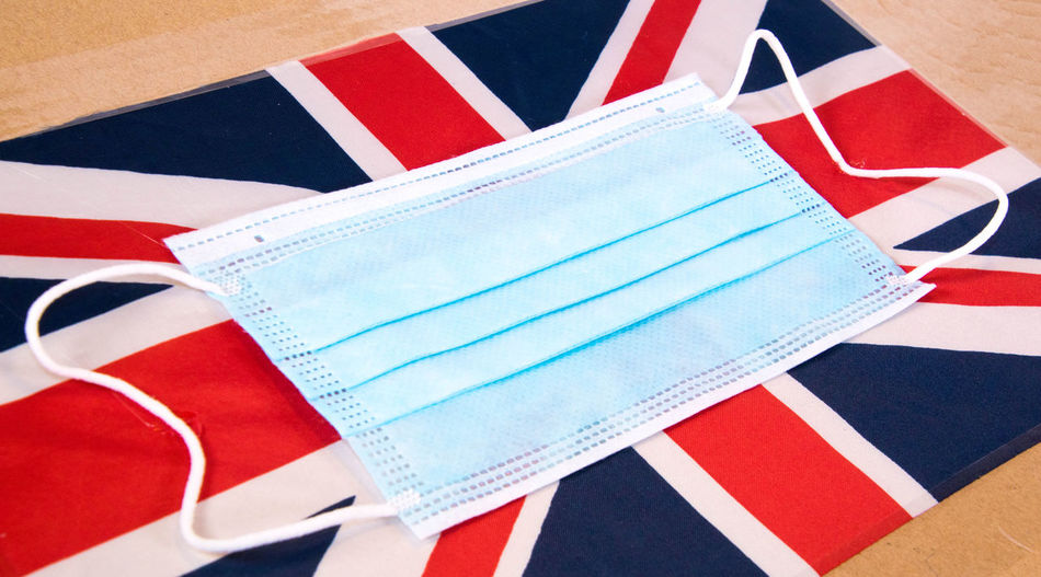 High angle view of paper flag on table