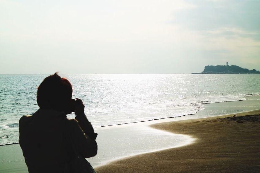 Enoshima Inamuragasaki Portrait Taking Photos Seaside Sea Sea And Sky