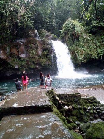 First Eyeem Photo Waterfall Stream - Flowing Water Cleanwater People Tourist Attraction  Majayjay Falls,laguna Coldwater Rock - Object Nature Beauty In Nature Forest Outdoors
