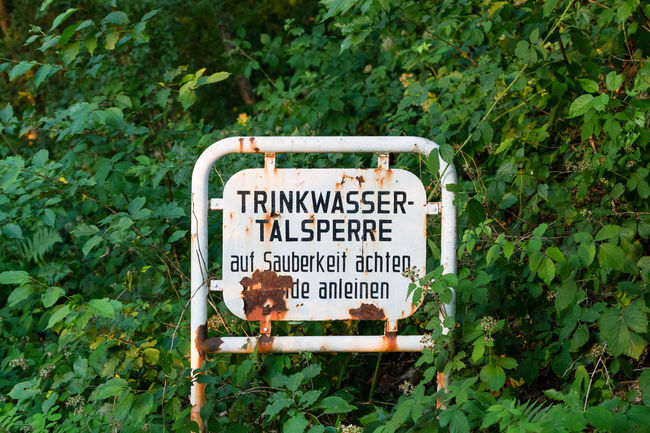 Trinkwasser Talsperre, Wahnbachtalsperre, Bonn, Germany Clean Close-up Communication Nature No People Outdoors Protected Protected Area Sauber Schild Sieg Siegburg Sign Talsperre Text Trinkwasser Versorgung Wahnbachtalsperre Wasser Water Supply