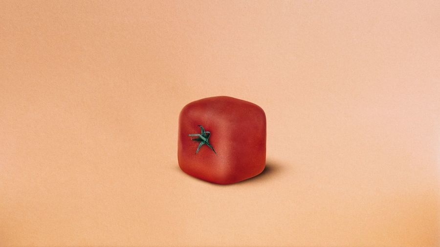 Close-up of artificial tomato over colored background
