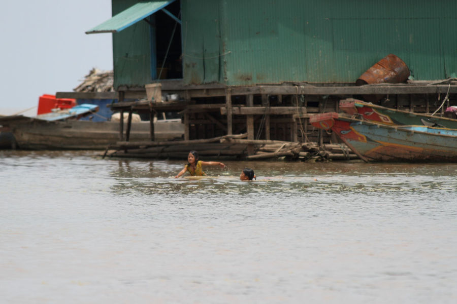 Boat Cambodia Children Children Playing Corrugated Iron Day Floating House Green Kampong Khleang, Cambodia Lake Leisure Activity Mode Of Transport Nature Nautical Vessel Outdoors River Rural Scene Sky Swimming Tonle Sap Water
