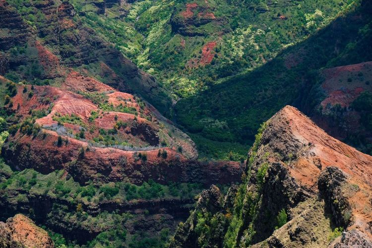 High angle view of mountains at waimea canyon state park