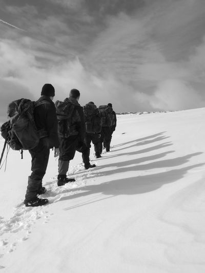 Brecon Beacons National Park Adventure Blackandwhite Clothing Cloud - Sky Cold Temperature Day Full Length Group Of People Hiking Land Leisure Activity Lifestyles Men Nature Outdoors People Real People Rear View Sky Snow Snowcapped Mountain Warm Clothing Winter