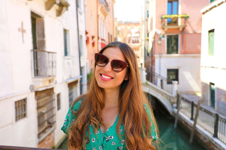 Smiling woman with sunglasses in Venice, Italy Venice Canals Venice Italy Venice Gondola Venice, Italy Beautiful Woman Smiling Woman Venice Woman Portrait Woman Sunglasses