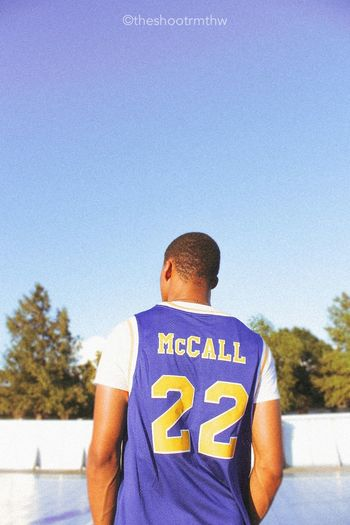 Love And Basketball Love And Basketball Text Rear View Blue Sky Men Clear Sky Outdoors Sport Sunny First Eyeem Photo