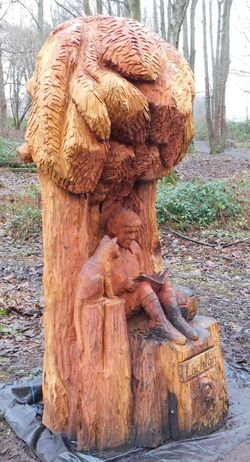 The magical fairy world found deep within Fullarton Woods, Troon, South Ayrshire, Scotland. Ayrshire, Scotland Taking Photos Animal Themes Close-up Day Field Fullarton Woods Mammal Nature No People Outdoors Statue Tree Tree Trunk Troon Wood Carving
