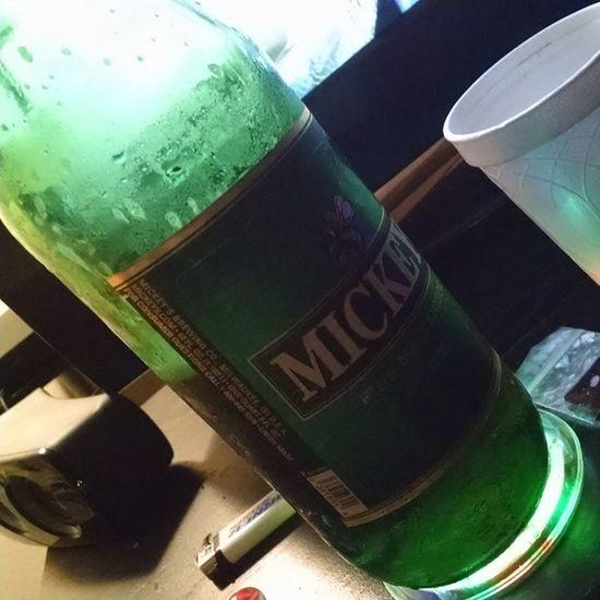 So it begins on a green note Mickeys Beer