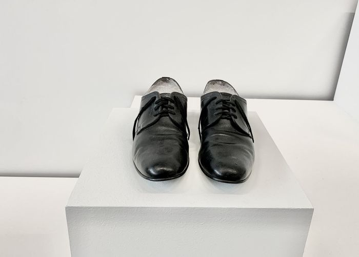 High angle view of shoes on floor at home