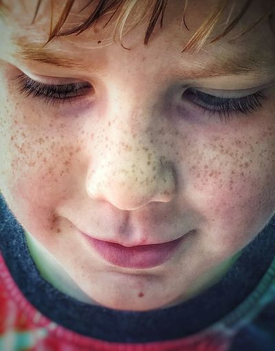 My Boy . Freckleface Innocence Thinking Child's Face Young Boy Freckles