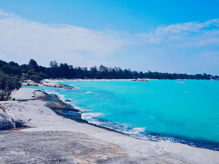 Hidden Paradise in Bangka . Bangka, Indonesia. Water Tree Scenics - Nature Sky Beauty In Nature Tranquil Scene Plant Tranquility Land Day Nature Blue Beach Sea Cloud - Sky Idyllic No People Non-urban Scene Travel Outdoors Turquoise Colored Bay Nature Beauty In Nature EyeEm Selects