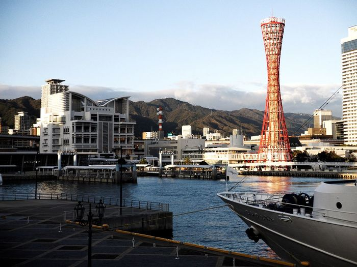 Kobe port tower Kobe Port Tower Japan Kobe Architecture Built Structure Building Exterior Water Sky City Travel Destinations Building Nautical Vessel Tower Cityscape