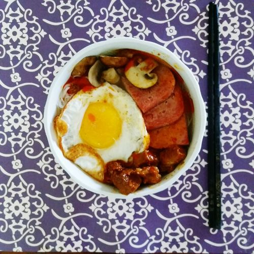 My World Of Food My Breakfast Chinese Food Instant Noodles Lunch Pork Egg Sunnysideup