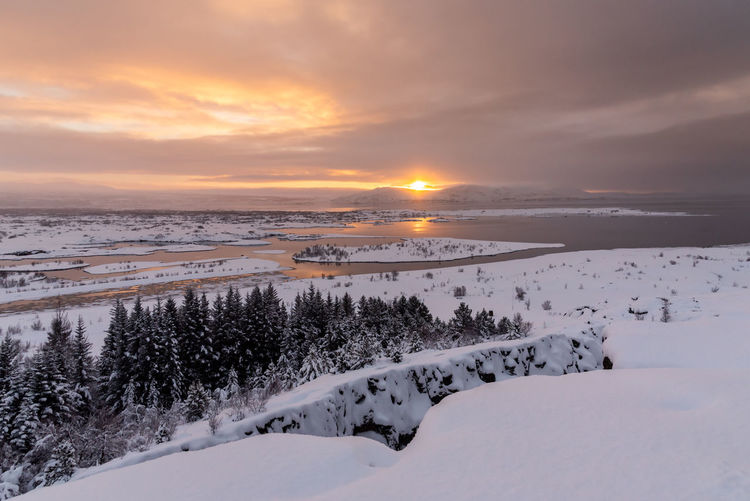 Iceland Iceland Wintertime Winter Cold Temperature Sky Snow Scenics - Nature Beauty In Nature Sunset Tranquility Tranquil Scene Cloud - Sky Water Nature No People Land Non-urban Scene Idyllic Environment Sun Outdoors Snowcapped Mountain