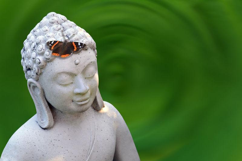 Buddha Buddha Statues Buddhafigur Entspannung Feng Shui Gelassenheit Glück Green Liebe Nasenspitze Schmetterling Seele Spaß Freude Glückseeligkeit Grün Kosmetik Lac Steinfigur Wohlfühlen