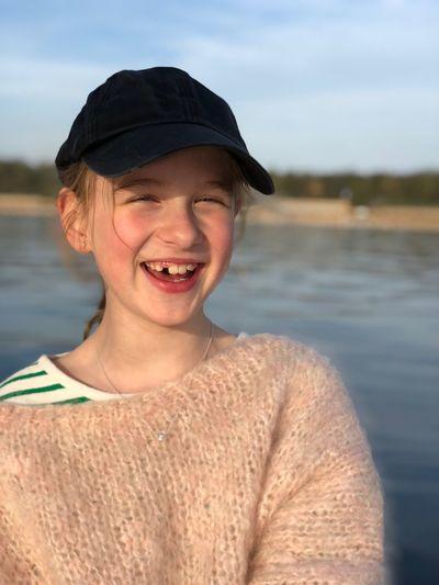 Portrait of smiling man in lake