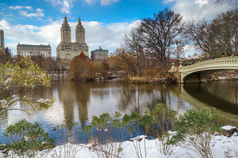 Bow Bridge in Central Park, NYC after a snow storm. Bow Bridge CentralPark Reflection Winter Architecture Beauty In Nature Bridge Building Exterior Built Structure Outdoors Sky Snow Travel Destinations Tree Water