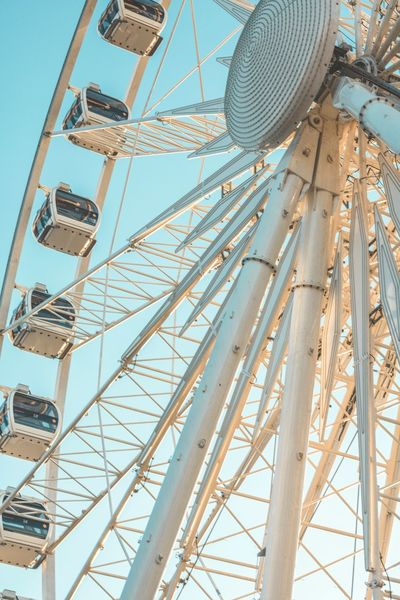 Amusement Parks Amusementpark Blue Sky Day Entertainment Europe Exploring Eye Ferris Wheel Fun Happy No People Outdoors Panoramic View Poland Rueda De La Fortuna Sky Structure Summer Tourist Attraction  Travel Destinations Traveling Turist Attraction Vacations Wheel Close Up Technology