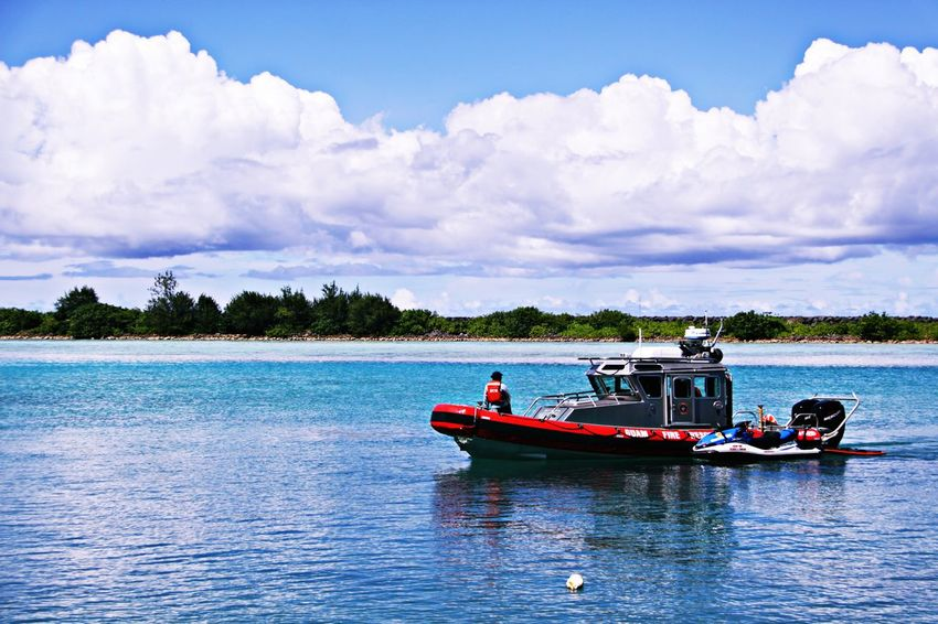 Fire Rescue boat in the Tamon Bay,Guam Island,Us Beauty In Nature Boat Cloud Clouds And Sky EyeEm EyeEm Best Shots EyeEm Gallery Fire Getty Getty Images Getty X EyeEm Gettyimages Guam Hello World Island Pacific Pacific Northwest  Pacific Ocean Q Scenics Sea Sea And Sky Seaside Water Waterfront