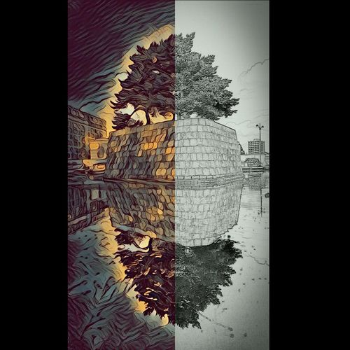 This was a photo i took with 2 types of app filters on my phone. Loved how different they both turned out, so i stitched them together. Ancoatsmanchester Water Surface Reflection In The Water Edits Manchester UK Manchester Canal Tree Filter Dream Nature Digital Composite Abstract