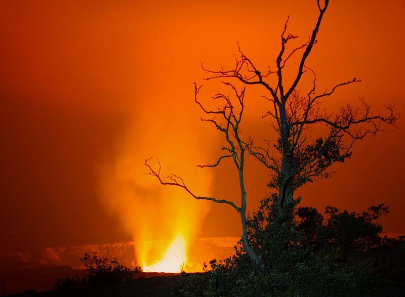 Bare Tree Beauty In Nature Branch Dramatic Sky Halemaʻumaʻu Crater, Hawaii Volcano National Park HAWAII Island Hawaii Volcanoes National Park Idyllic Majestic Nature Orange Color Outdoors Scenics Silhouette Tree Volcanic Landscape Volcano Volcano Crater Volcano Eruption Volcano Lake