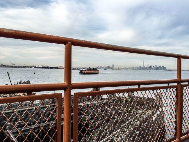 Staten Island Ferry Docking Industrial Landscapes View Of Manhattan New York New York Railings EyeEm x WhiteWall: Cities
