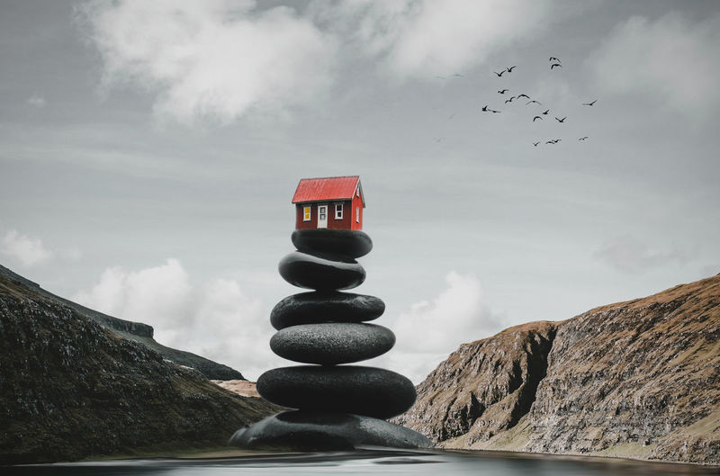 House on pebbles House, Red, Height, Mountain, Light, Rock, Nature, Balance, Cloud, Natural, Sky, Creation, Imagination, Design, Art, Stone, Birds, Iceland, Jsebouvi, Travel, Water, Lake, House On Pebbles Cloud - Sky Sky Flying Bird Animal Themes Vertebrate Animal Nature Rock Group Of Animals Mountain Animal Wildlife Animals In The Wild Scenics - Nature Solid No People Rock - Object Day Large Group Of Animals Beauty In Nature Flock Of Birds Outdoors Pebble