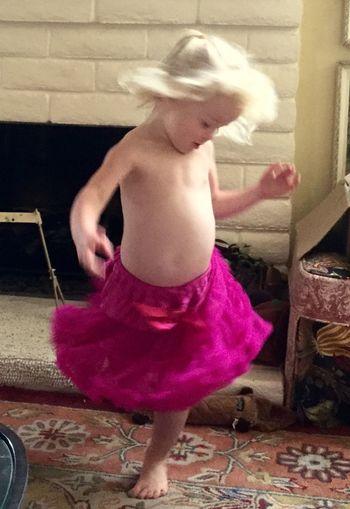 Tutu Little Blonde Girl Blond Hair Indoors  Playful Dancing Little Girl Dancing Child Twirling in Santa Rosa California