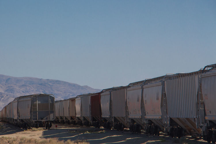 Cargo Container Clear Sky Day Mountain No People Rail Transportation Train - Vehicle Transportation