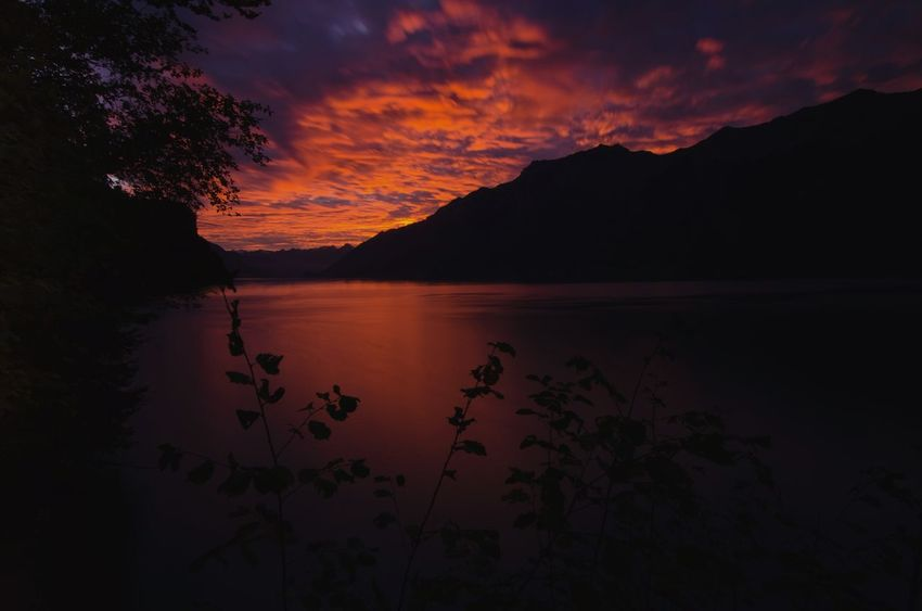 Lake Brienz in glowing red sunset Reflection Lake Landscape Water Scenics Outdoors Sunset Nature Sky Beauty In Nature No People Travel Destinations Mountain Cloud - Sky