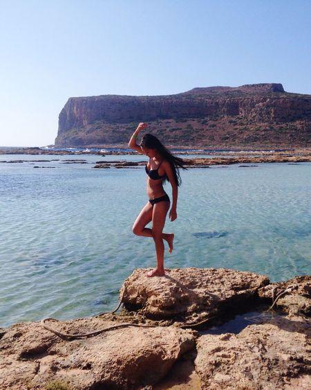 Paradise Balos Lagoon Balos Girl Beautiful Traveling Greece Sunshine Sea Beach Beauty
